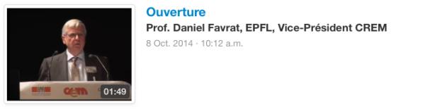 Ouverture Prof. Daniel Favrat, EPFL, Vice-Président CREM